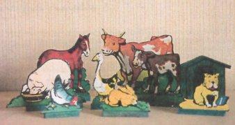 animaux en carton sur support bois - éditions Nilsson 1927/1928