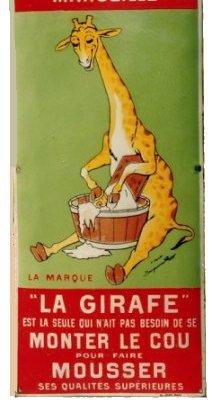 plaque émaillée pour la savonnerie la girafe