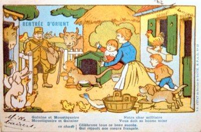Carte postale vantant à la fois la quinine et les moustiquaires...