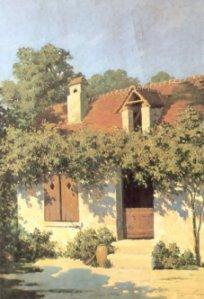 La maison de Benjamin Rabier à Lye : peinture à l'huile de Benjamin Rabier